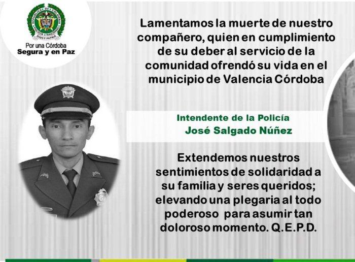 Asesinan a comandante de estación de policía de Valencia, Córdoba